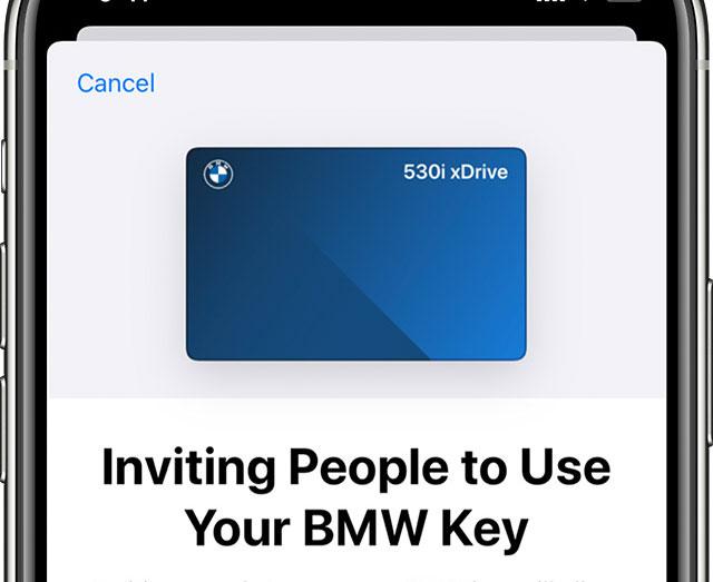 BMW autókulcs megosztás iPhone-nal